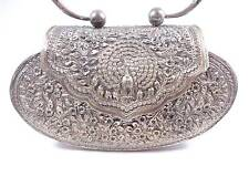 Antique hand made silver 925 Handbag purse peacock flowers engraved 342 grams