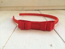 Red Satin Girls Hairband Headband Alice Band Red Triple Bow School Uniform