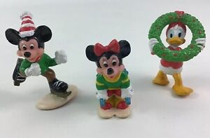 Mickey Mouse Holiday PVC Figures Toy Minnie Donald 3pc Lot Vintage 90s Applause