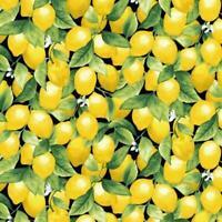 Lemon fabirc small lemons Timeless Treasures fabric 100% Cotton Lemons on BLACK