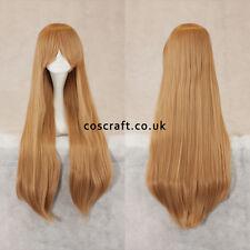 80cm long straight cosplay perruque avec frange en caramel blonde, vendeur britannique, alex