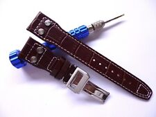 22mm Brown Exotic Leather Band - Watch Strap - IWC Style