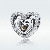 Love Heart 925 Silver CZ Pendant Rose Gold Plated Charm Bead Women Jewelry Gift