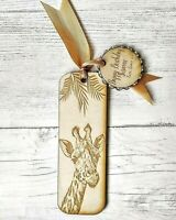 Wooden Bookmarks Personalised Giraffe With Tag Birthday Gift