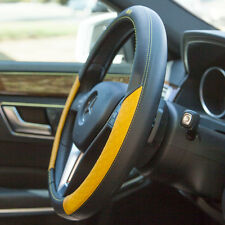 Black+Yellow Real Leather Steering Wheel Cover Iteza It58012 Toyota Honda Lexus