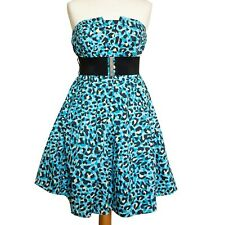 Be Beau Blue Cotton Animal Print Strapless Flared Party Dress & Wide Belt UK14