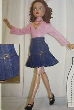 """Decked Out In Denim 16"""" Ellowyn Wilde Doll Top & Skirt Clothing SEWING PATTERN"""