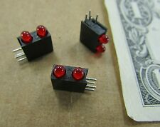 10 Dual Solder Mounted 3MM Red LEDs Miniature Warning Signal Indicator Lights