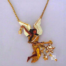 Lunch At The Ritz Black Angel Rhinestone Trembler Trumpet Brooch Pendant & Chain
