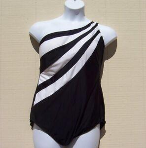 DELTA  BURKE SWIMSUIT BLACK WHITE ASYMMETRICAL FRONT LINED SZ 24 W ~NEW~