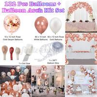 132x Rose Gold Balloons+Balloon Arch Kit Set Chrome Wedding Party Birthday Decor