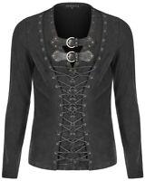 Punk Rave Mens Dieselpunk T Shirt Top Black Grey Long Sleeve Steampunk Gothic