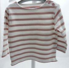 Bout'chou tee-shirt blanc rayé vieux rose manche longue bébé fille 6 mois