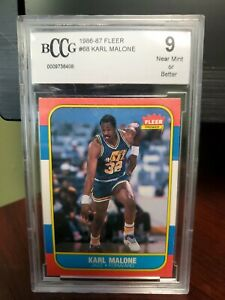 1986-87 Fleer - Karl Malone - Utah Jazz - #68 - Rookie - BCCG 9