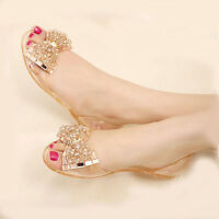 Women's Fashion Beaded Jelly Flats Bow Sandals Clear Summer Beach Shoes Slip On