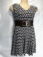 Wallis black white petite dress size 12 Stretch short sleeve fit & flare new