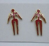 Statement Earrings Gold Tone Dangle Red Enamel Man Native Metal Boho Tribal Chic
