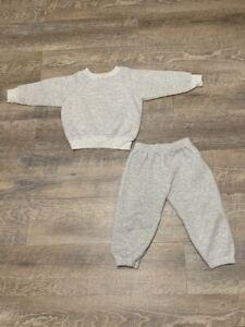 Vintage Hanes Toddler Sweatsuit 2T Gray 90s Sweatshirt Sweatpants Outfit Set
