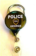 POLICE ID  CARABINER ID BADGE HOLDER RETRACTABLE REEL,KEYS NAME INCLUDED