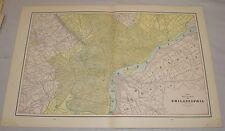 "1891 Antique Color MAP of the PHILADELPHIA PA/14x22""/b/w BALTIMORE & WASHINGTON"