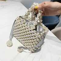 New Hand Woven Pearl Evening Bag Women Luxury Small Beaded Flap Box Pearl Clutch