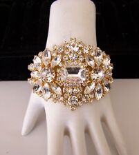 Czech Crystal Clear Gold Plated Rhinestone Glass Couture Front Opening Clamper