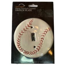 Baseball Light Switch Plate Cover - Hand Painted Ceramic - Lighting Accessory