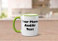 Personalised Coloured Rim & Handle Mug Photo Text Picture Customised Freshers