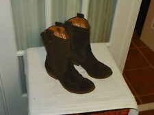 Fossil Carley Brown Embossed Suede Ankle Cowboy Fashion Boots Sz 6 M