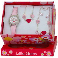 Ravel R2214 Childrens Jewellery Set Little Gems Hearts and Flower Watch Charm