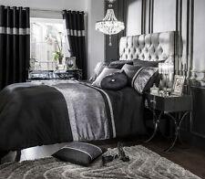Luxury Velvet Cream Black Silver Diamante Duvet Cover w/ Pillowcase Bedding Set