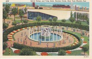 1939 New York World's Fair - Perylon Circle - Spiral Hedge, Tulips and Fountain
