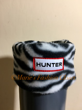 NIB HUNTER Kids Toddler Shoe Sz: 11-13 Zebra Print Fleece Boot Socks Liners