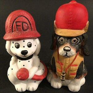 FIRE DEPARTMENT DOG FIGURINE DALMATIAN DOG FIRE CHIEF DOG BANK VINTAGE JASCO