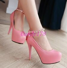 Ladies Ankle Strap Beads Platform Stilettos High Heels Dress Party Shoes Size UK