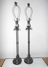 "Lamps Pair 36""H Hotel Style Fancy Glass&Cast Metal Art-Deco Themed Banquet Lamps"
