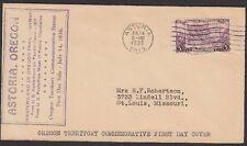 1936 Oregon Centennial 3c Stamp FDC Sc783-51 Purple Rubber Stamp Cachet Astoria