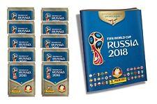 PANINI WM 2018 RUSSIA WORLD CUP ALBUM + 10 cartocci/50 Sticker BLOC NOTES