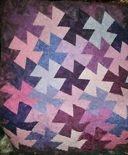"""BOLD HANDMADE QUILTED QUILT 48"""" SQUARE LAP OR WALL BRIGHT COLORS MACHINE QUILTED"""