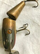 "Jointed Midget Pikie Minnow Lure By Creek Chub 3.75"" Glass Eye Marked Lip Nice"