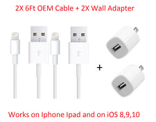 2X Home Wall Charger & 6 FT OEM 8Pin USB Cable Power Cord for iPhone 7,6, 6S
