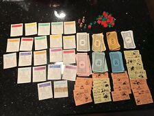 Vintage 1940s-50S Wooden Monopoly Game Pieces Money Markers Houses Hotels