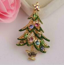 Xmas Christmas Party Green Tree Brooch Pin Diamante Rhinestone Lady Gift Jewelry