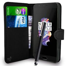 Black Wallet Case PU Leather Book Cover For OnePlus 5 Mobile Phone
