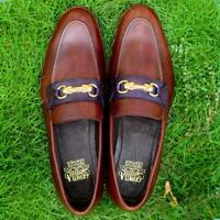 Men Loafer Slip On Brown Party Casual Handmade Calf Leather Shoe