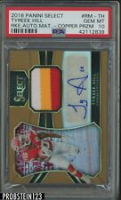 2016 Panini Select Copper Prizm Tyreek Hill Chiefs RC Jersey AUTO /49 PSA 10