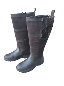 NEW PoleStar London Leather Riding Country Boots Footwear XX Wide Calf BLACK