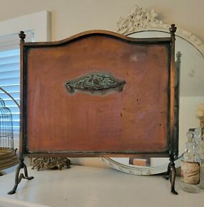 FAB~ Antique French Firescreen Guard on Copper Best Verdigris Patina! FREE SHIP