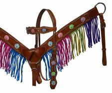 Showman Leather Bridle & Breastcollar Set w/ Painted Flowers & Fringe! NEW TACK!
