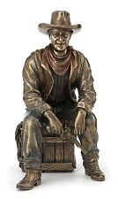 Cowboy Sitting On Crate w/Pistol & Lasso Sculpture Statue *Well Made *Great Gift